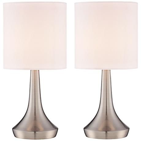 A contemporary touch table lamp set in metal construction topped a contemporary touch table lamp set in metal construction topped with drum lamp shades aloadofball Image collections