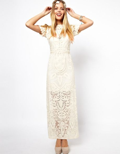 481fc17ad87e Women s Natural Salon Applique Lace Maxi Dress