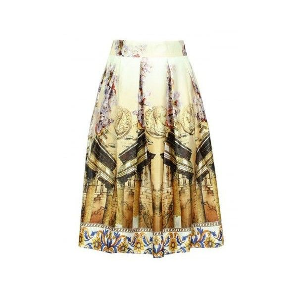 Trendy Elastic Waist Ornate Printed Women's Skirt ($16) ❤ liked on Polyvore featuring skirts, elastic waistband skirt, brown skirt and elastic waist skirt