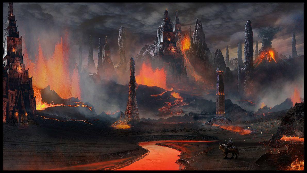 Concept Art Smoking Volcano Island