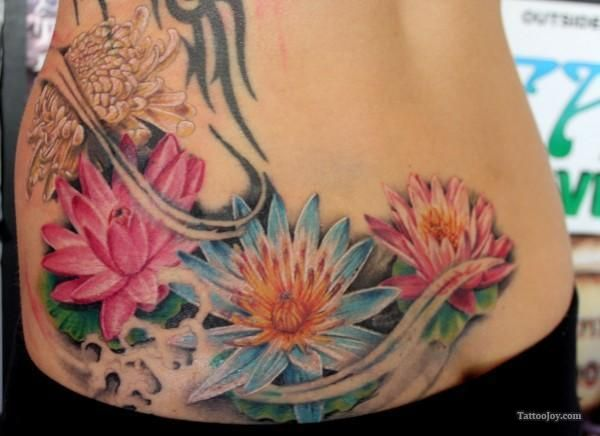 Water Lilies The Lower Back Tattoo Water Lily Tattoos Lower