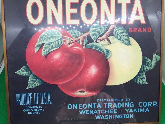 CRATE LABEL VINTAGE ADVERTISING PEACOCK ONEONTA 1940S ORIGINAL WENATCHEE BIRD