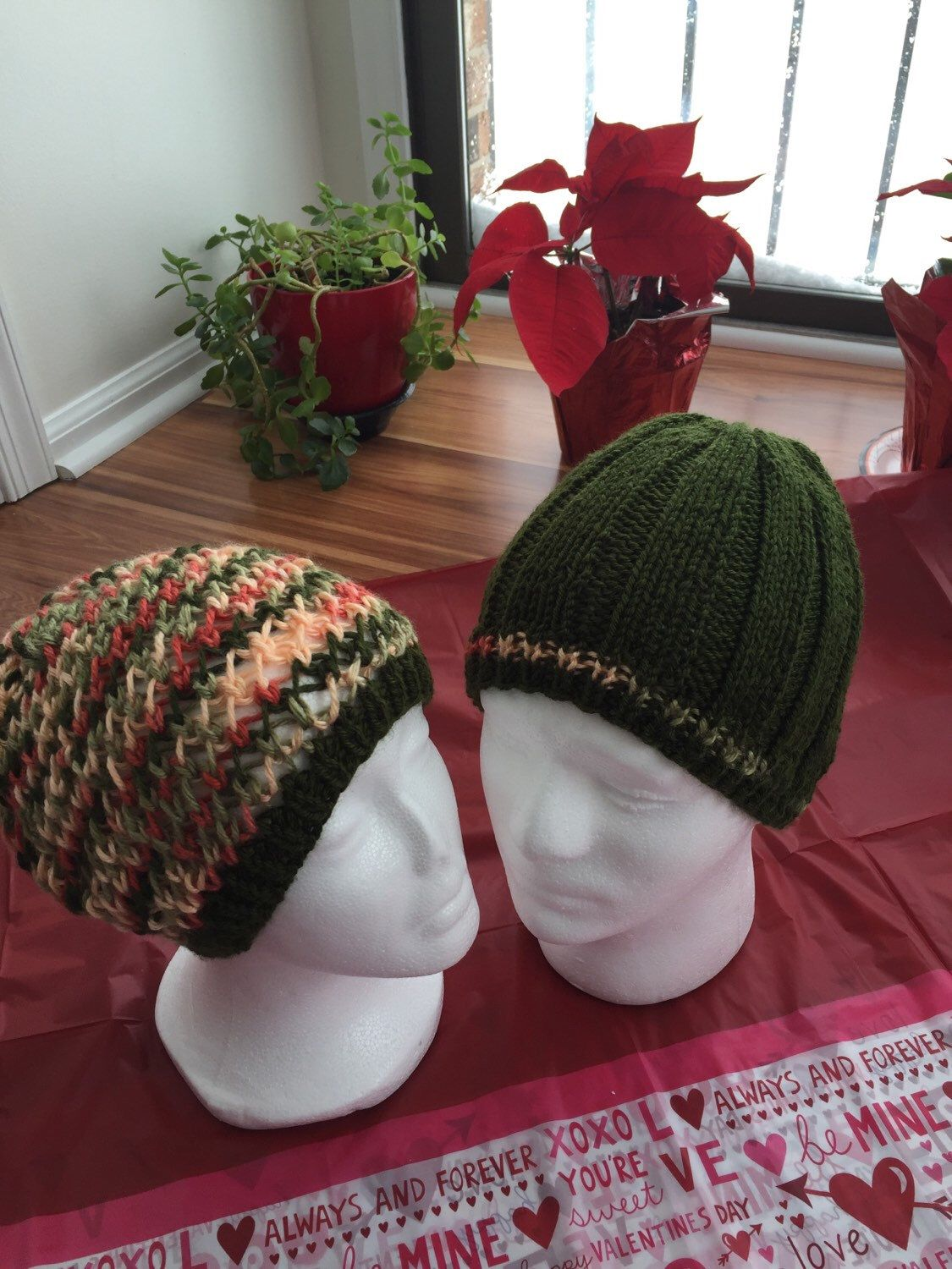 A personal favorite from my Etsy shop https://www.etsy.com/listing/265143337/valentines-day-hats-for-couples-winter