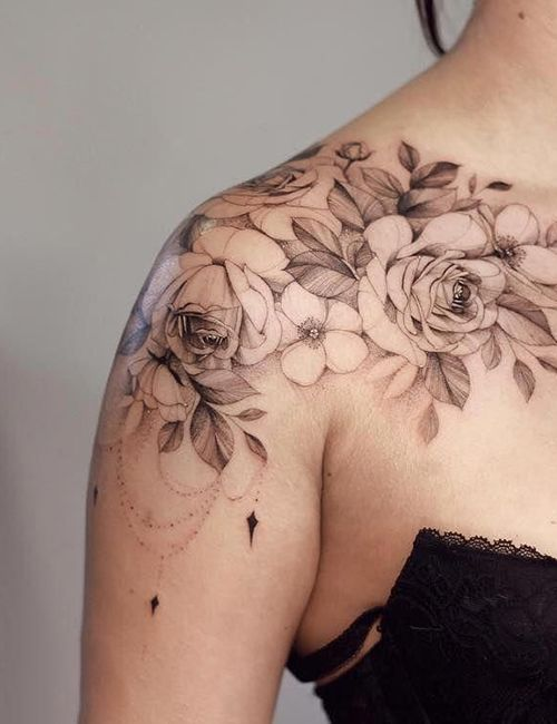 Photo of Perfect Flowers Tattoo On Shoulder And Review