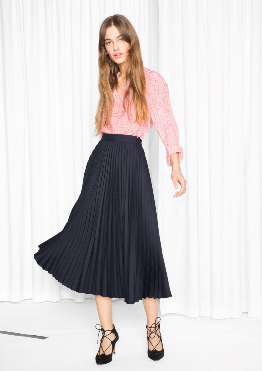 d214e507c3a6 & Other Stories image 2 of Accordion Skirt in Navy | Clothes in 2019 ...