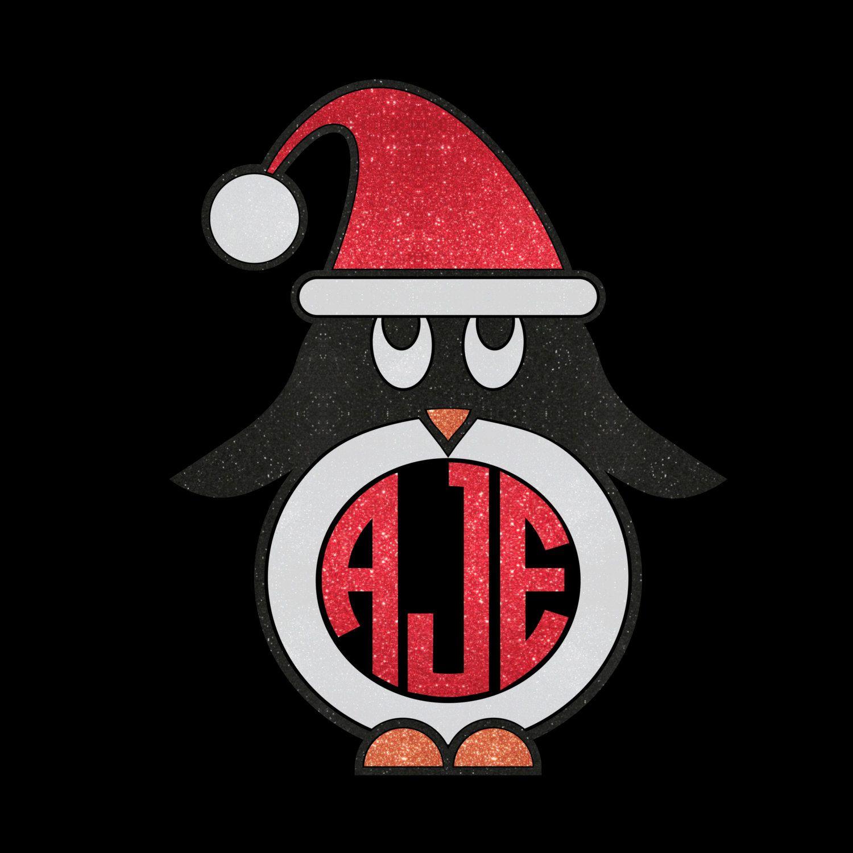 Custom Penguin With Santa Hat Monogram Glitter Iron On Heat - Custom vinyl transfer decals