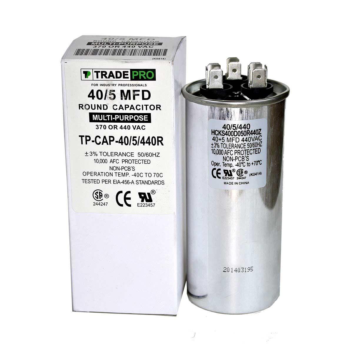 40 5 Mfd 370 Or 440 Round Dual Run Capacitor Tp Cap 40 5 440r Capacitor Capacitors Round