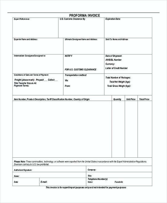 Proforma Invoice Example  Proforma Invoice Template  Things That