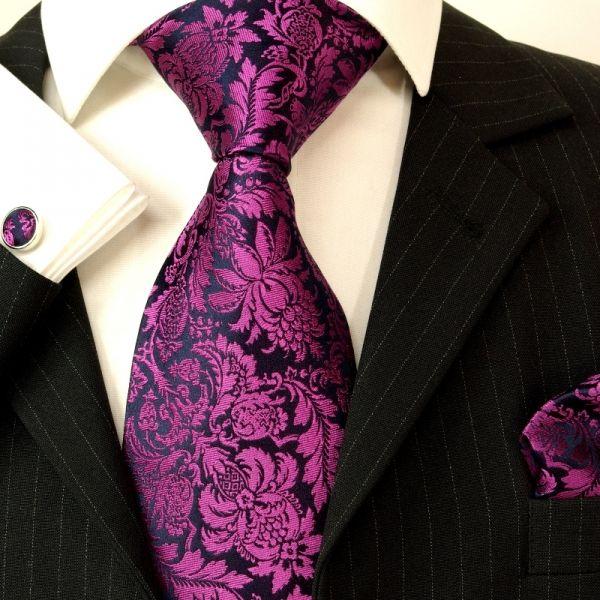 Purple Black Floral Men Dress Up Necktie Set Mens Shirt Dress