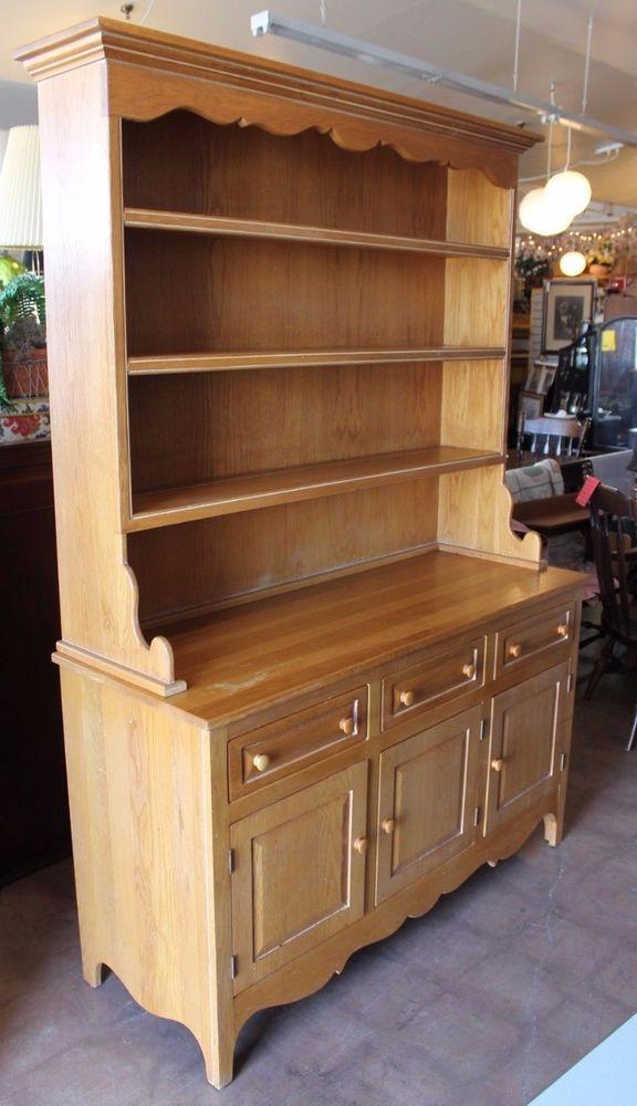 Habersham Plantation oak china cabinet hutch - all wood. Pick up ...