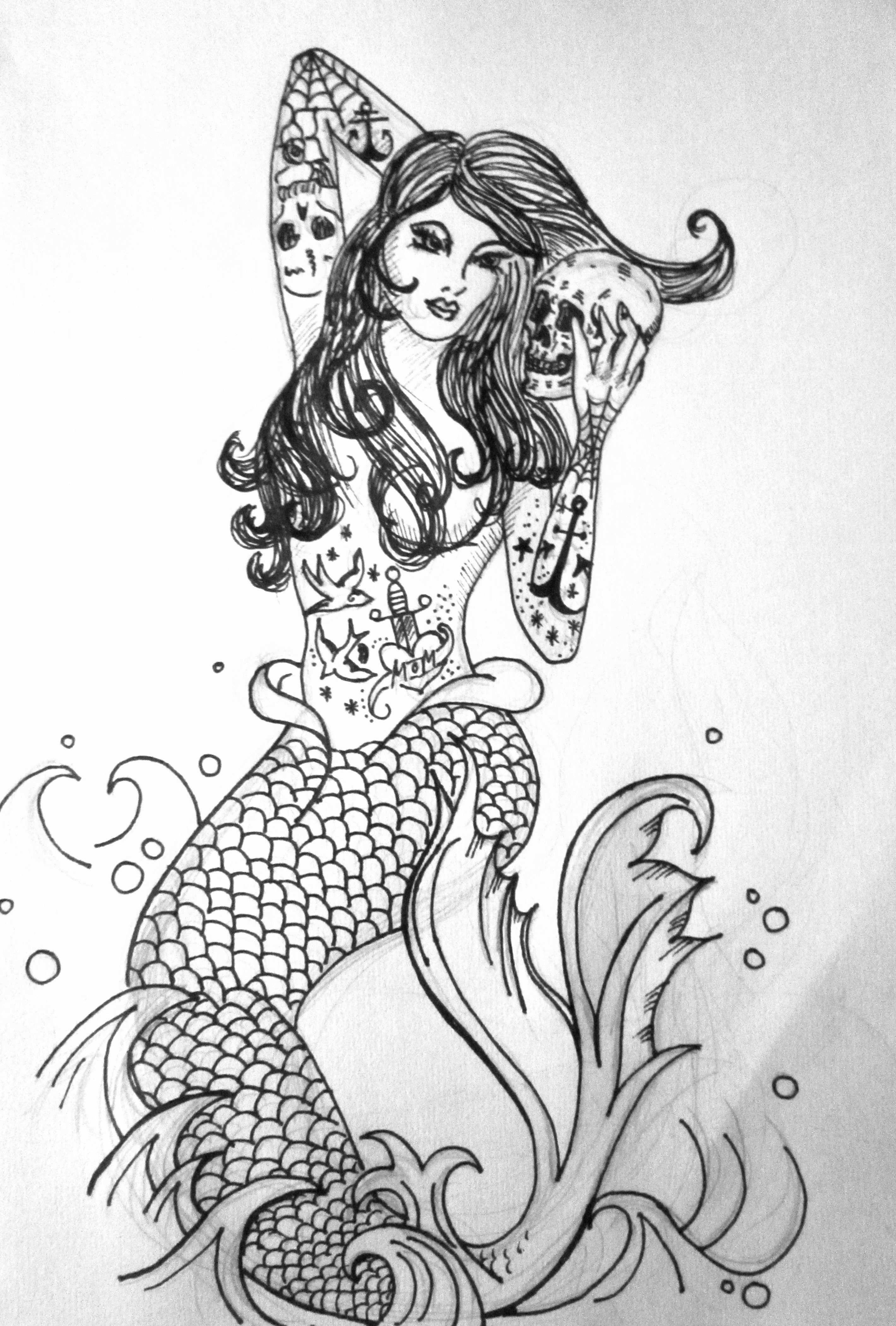 Mermaid with Skull | Mermaid drawings, Sketch inspiration ...