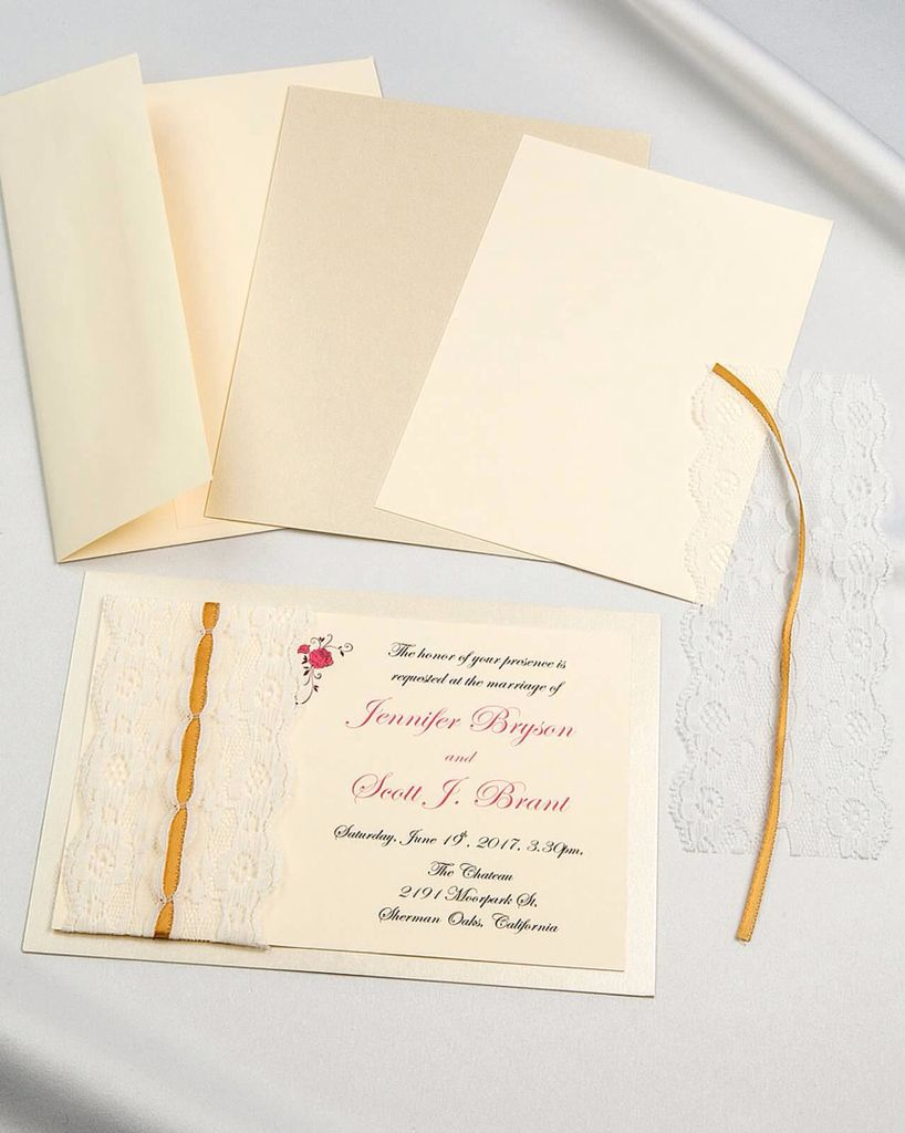 Threaded Lace Diy Invitations With Cream Envelope And Invitation Card