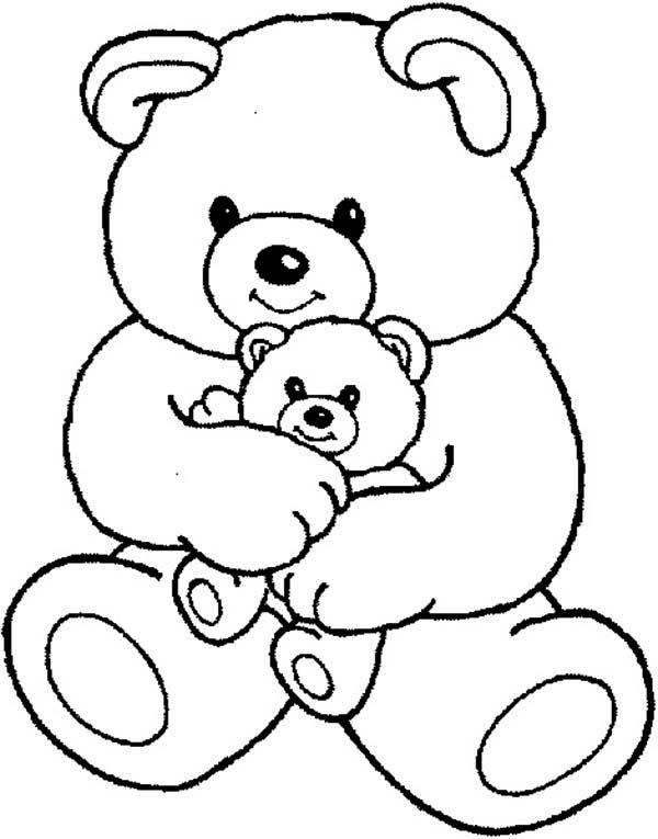 Teddy Bear, Teddy Bear and Little One Coloring Page: Teddy Bear ...