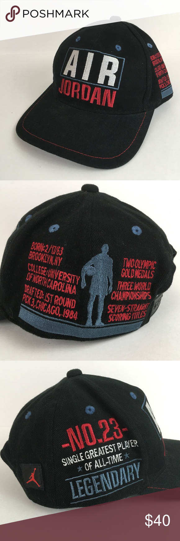 37ee8763 Nike Air Jordan GOAT Snapback Hat Good condition, no issues. Big AIR JORDAN  spellout on front, facts on left side, No.23, Legendary, Greatest of All  Time on ...