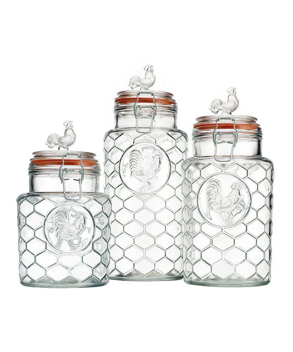 Another great find on #zulily! Glass Rooster Canister Set by Home ...