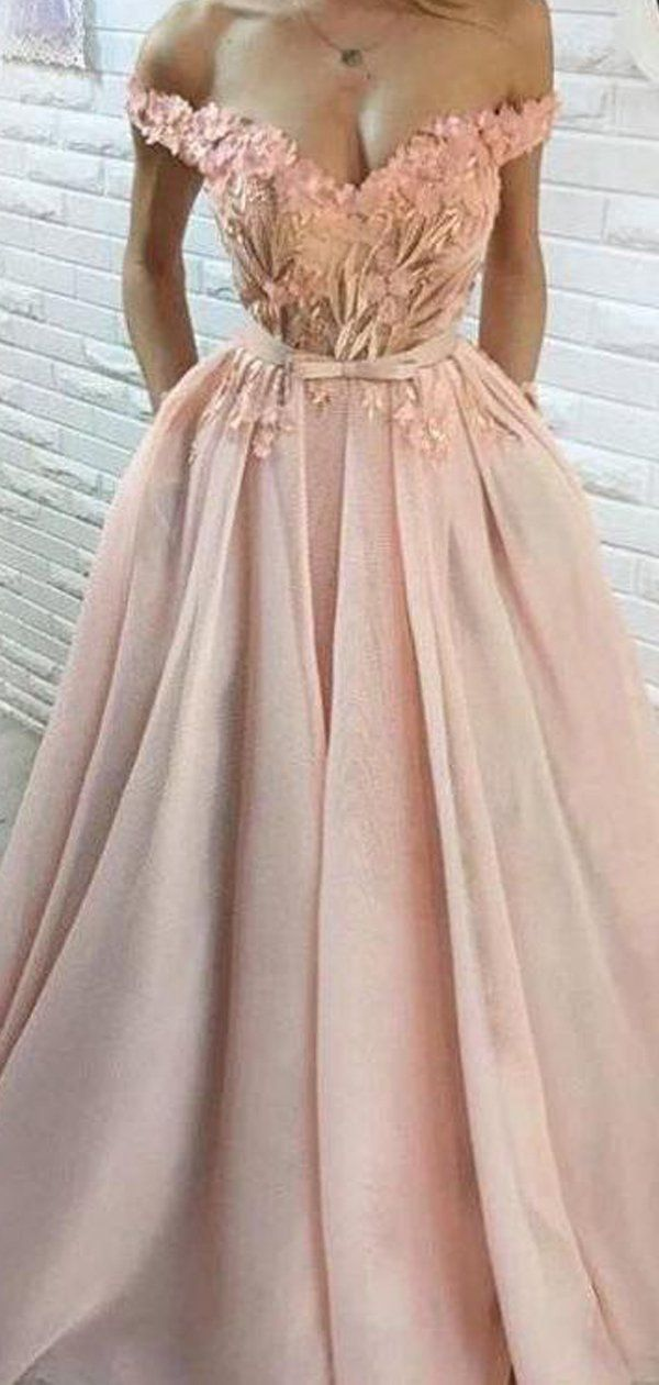 67a4fc0f4c1 Blush Pink Tulle Applique Off Shoulder Prom Dresses, DB1100 #prom  #promdresses #longpromdresses #eveningdresses #cheappromdresses #party  #2019promdresses