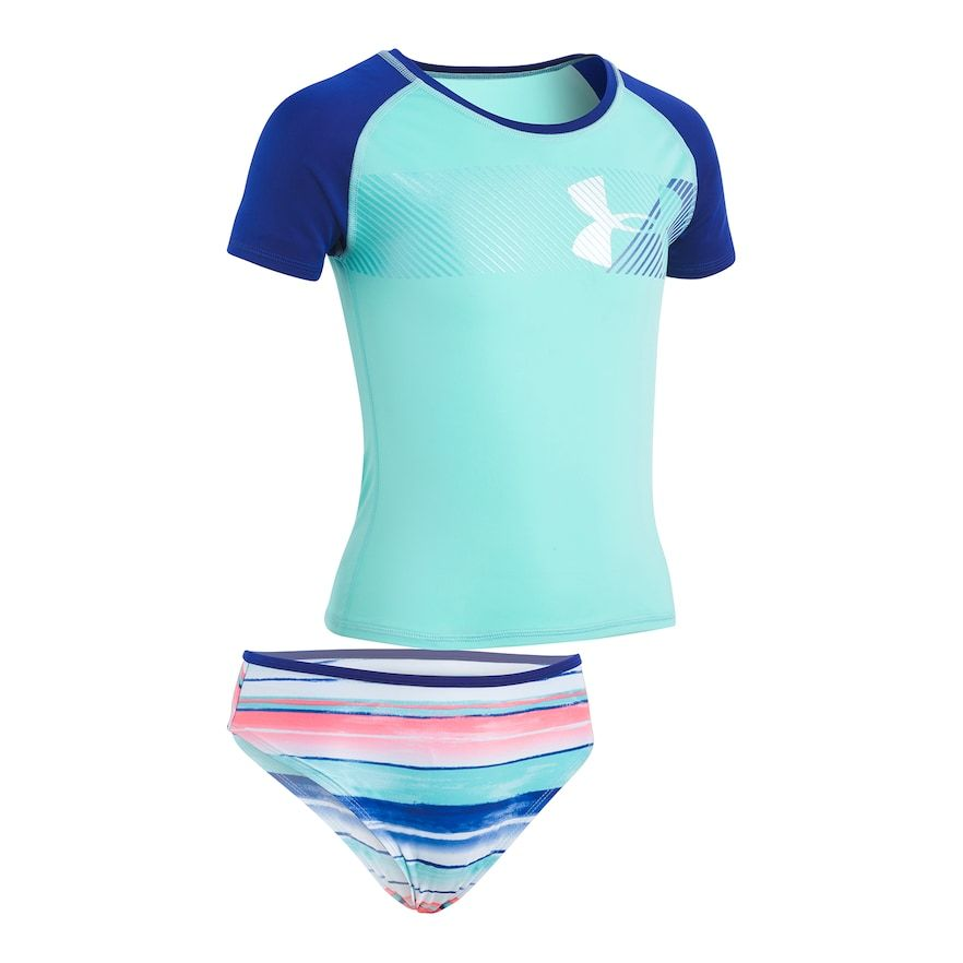 d014f9cc040 Girls 7-16 Under Armour Hybrid Logo Rashguard & Bottoms Swimsuit Set, Size:  12, Turquoise/Blue (Turq/Aqua)