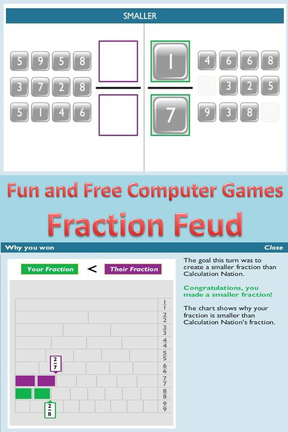 Here is a great game for comparing and ordering fractions. I use ...