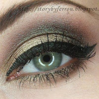 evening makeup gold with green flecks  makeup looks for