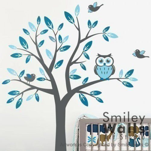 Nursery Vinyl Wall Decal   Tree With Owl And Birds