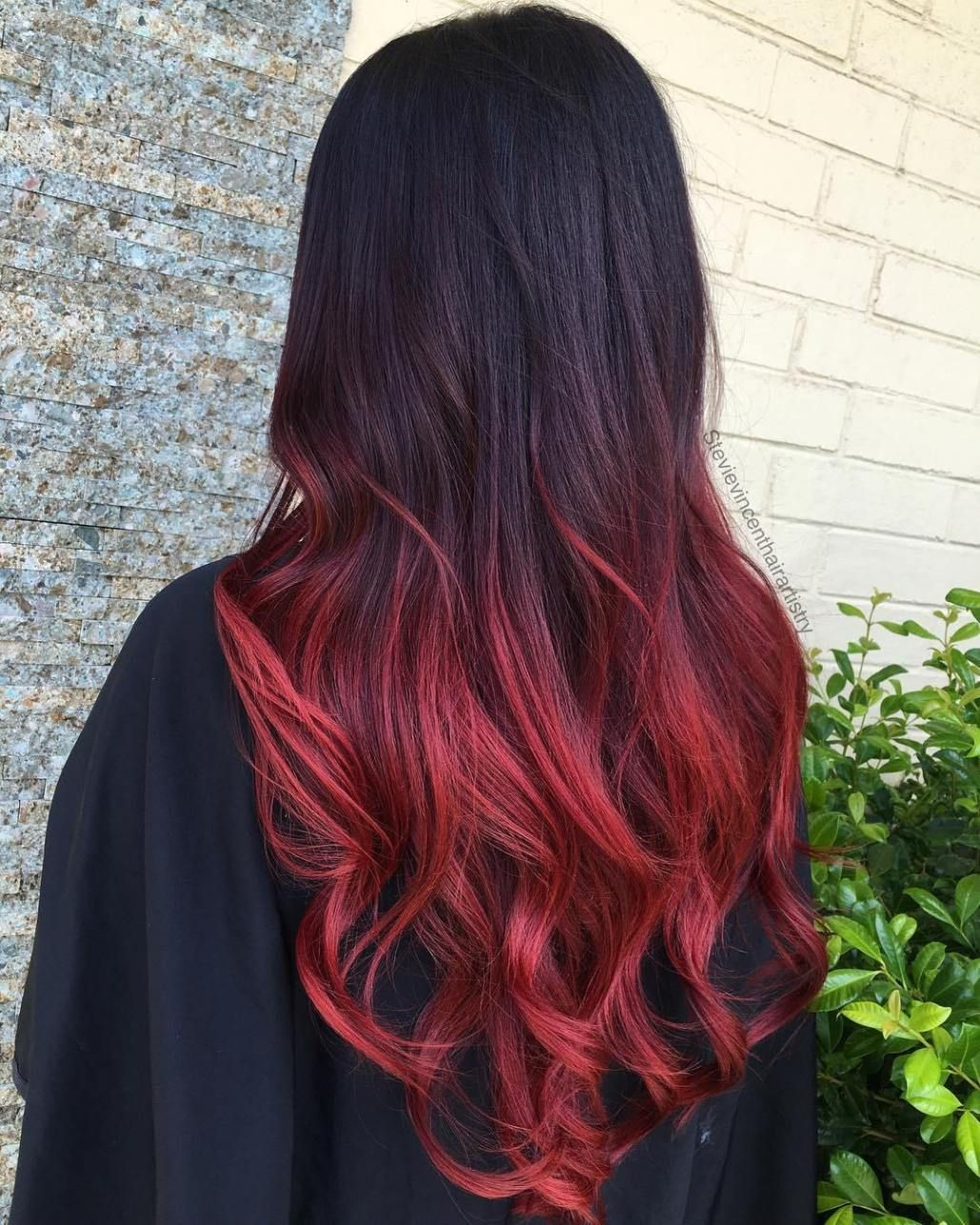 60 Best Ombre Hair Color Ideas For Blond Brown Red And Black Hair Black Hair Red Ombre Hair Color For Black Hair Black Hair Ombre
