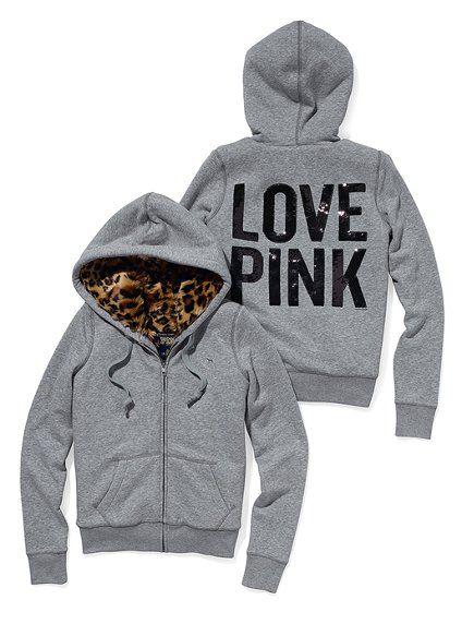HOLY POOP  VS Pink Faux-Fur Lined Bling Zip Hoodie: S heather grey