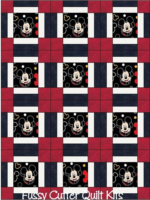 Mickey Mouse Baby Children Kids Red Black Fabric Fast Easy to Make ... : pre cut quilt fabric - Adamdwight.com