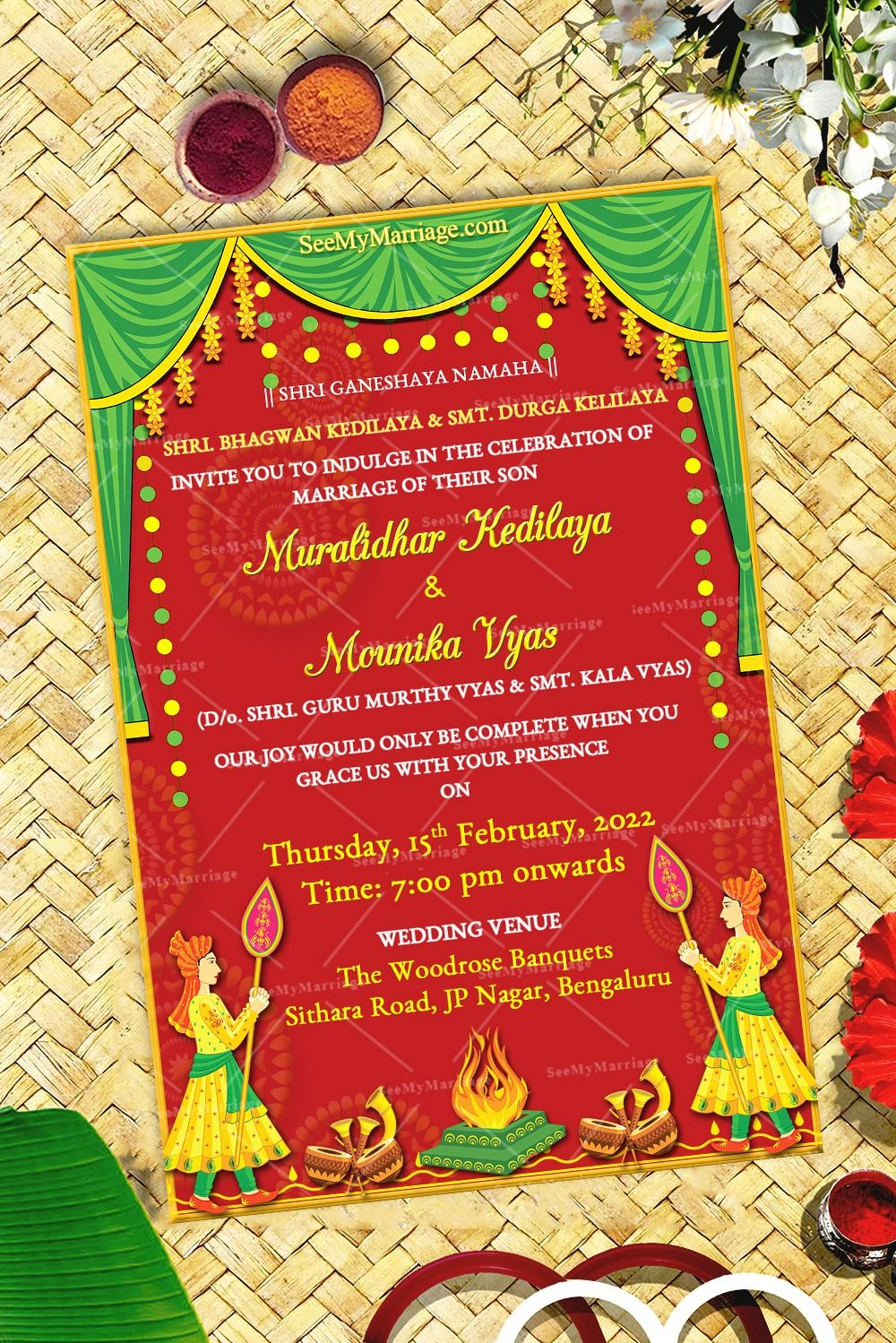 Traditional Kannada Wedding Invitation Card Red And Yellow Theme Instantly Editable Green Themed Wedding Digital Wedding Invitations Hindu Wedding Cards