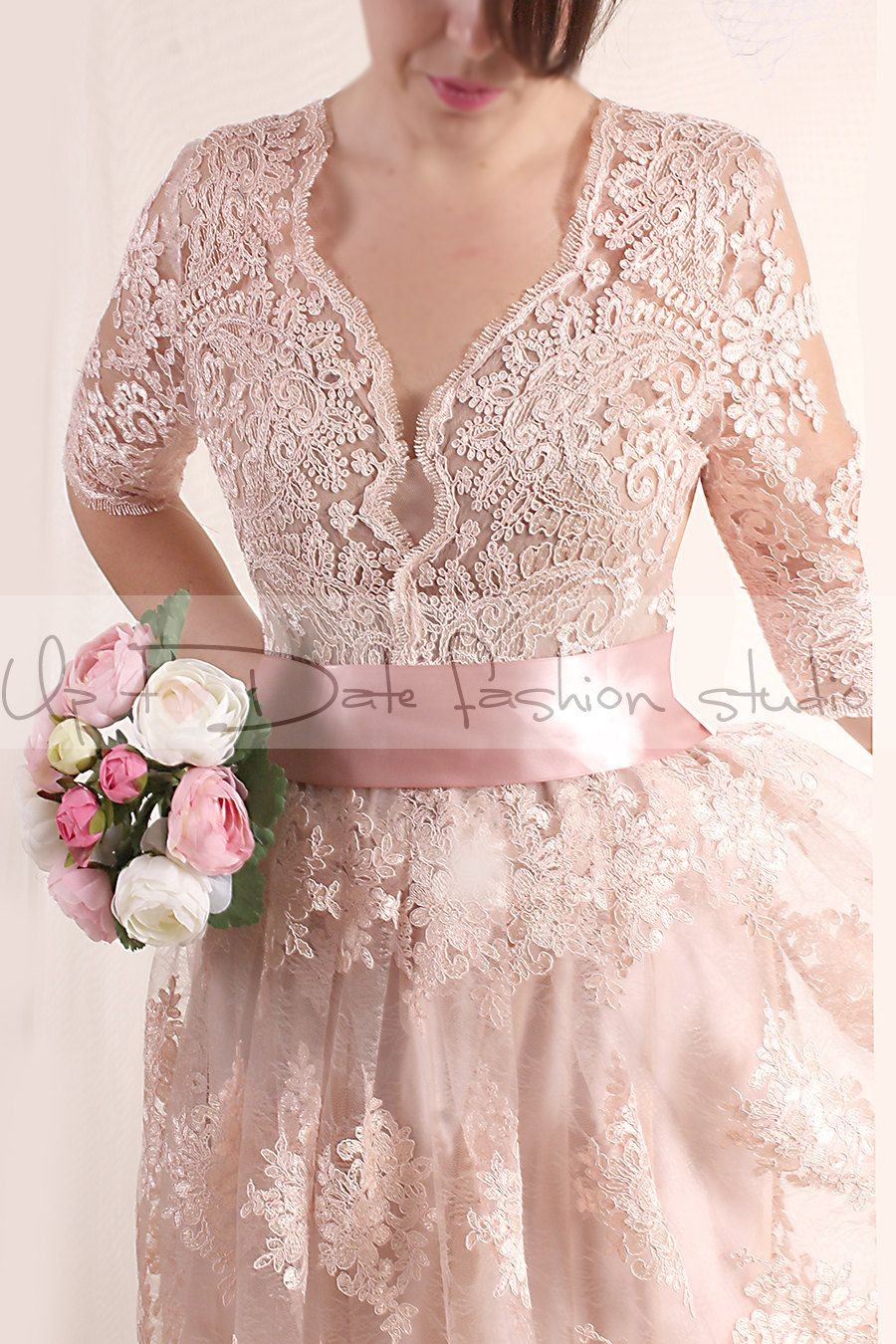 Lace Short Wedding Dress V Front With Sleeves Blush Pink Bridal Gown In 2021 Lace Dress With Sleeves Short Lace Dress Short Wedding Dress [ 1350 x 900 Pixel ]