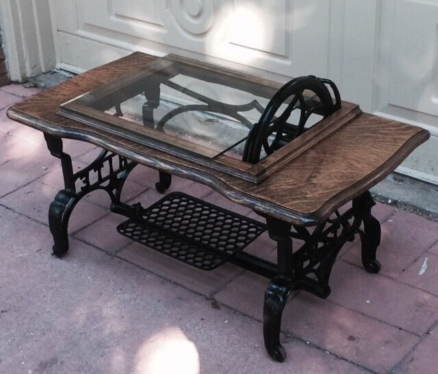 Antique Vintage Coffee Table,Cast Iron Base White Sewing