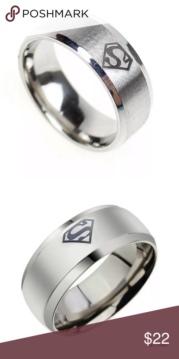 8mm Men S Stainless Steel Band Ring Superman Logo Womens Jewelry Rings Mens Accessories Jewelry Fashion Band
