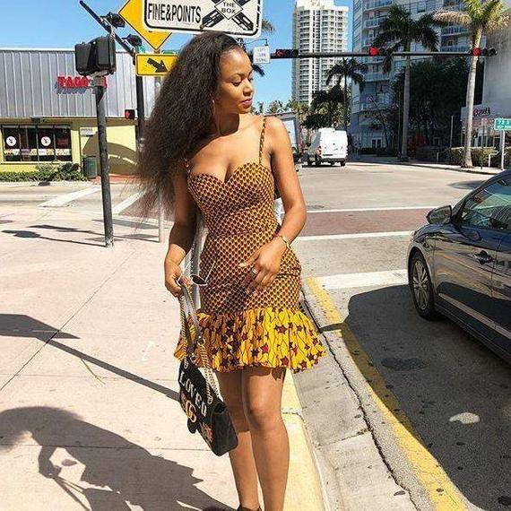 African print sexy dress,short Ankara dress,Africa