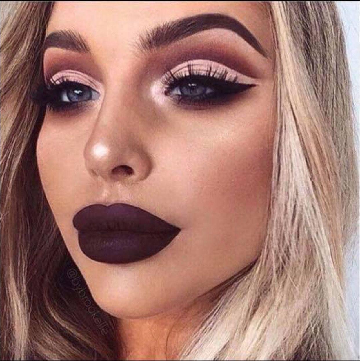 Bold Makeup Look and Lips Dark Plum Burgundy Liquid