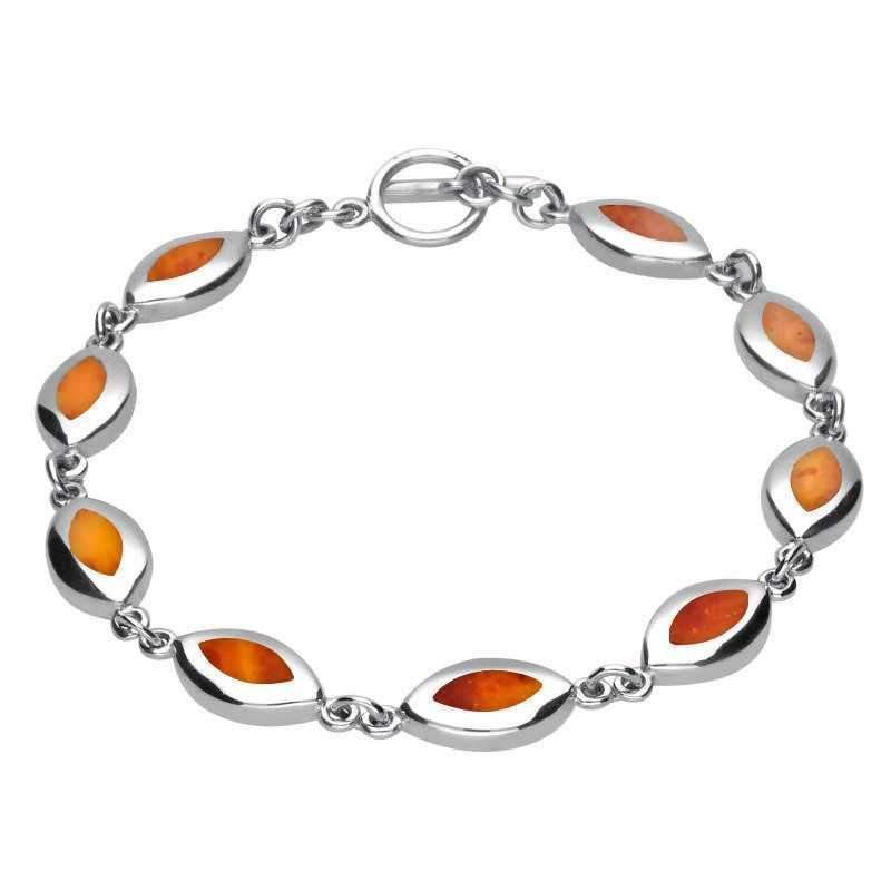 Multicolor Amber Sterling Silver Marquise-shaped Bracelet 19cm s1X72LyZ9T