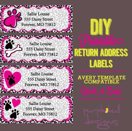 Chevron Return Address Labels Black And White Pink Avery Template