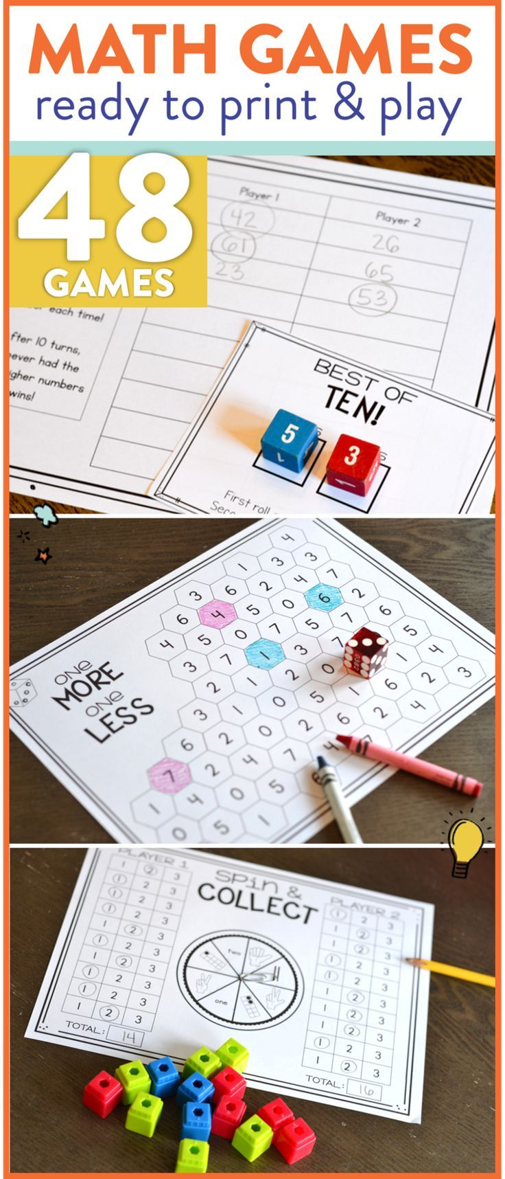 Math Games for 1st Grade Print, Play, LEARN
