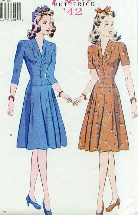 The Real And The Inspired By 1940s Fashion: 1940s Inspired Plus Size Dress Sewing Pattern By