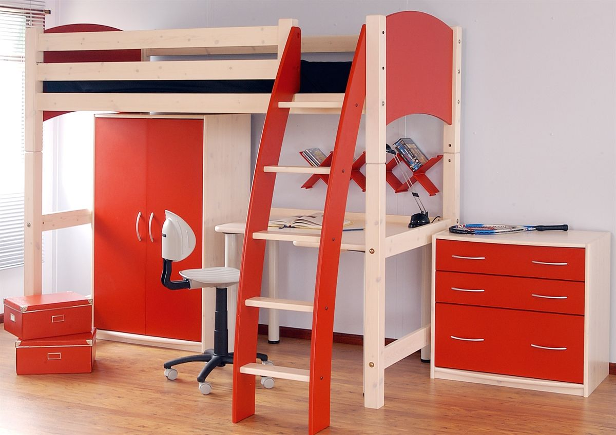 Cresta Scallywag High Sleeper In Red White With Optional - Scallywags bedroom furniture