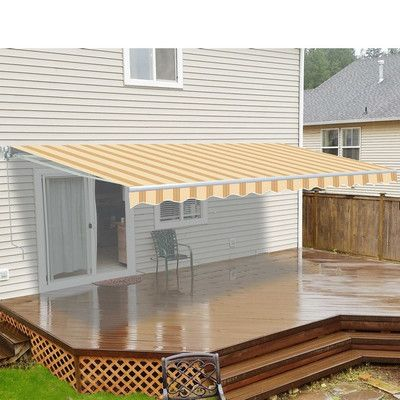 Aleko 12 Ft W X 10 Ft D Fabric Retractable Standard Patio Awning Pergola Patio Pergola Patio