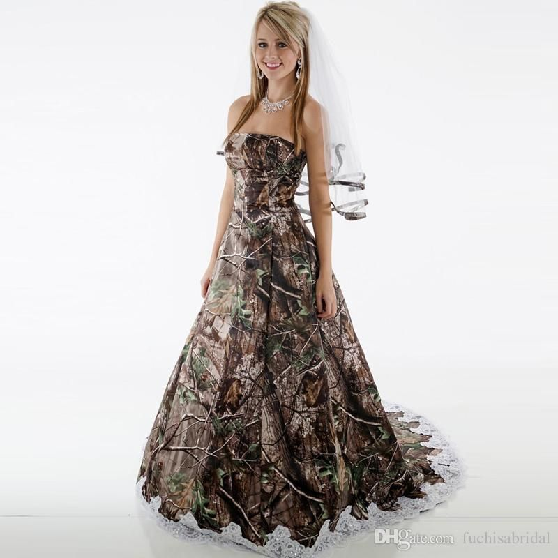 Camo Wedding Dresses Strapless Corset Camouflage Country Wedding Gowns Brush Train Brida Camo Wedding Dresses Formal Dresses For Weddings Wedding Dress Couture