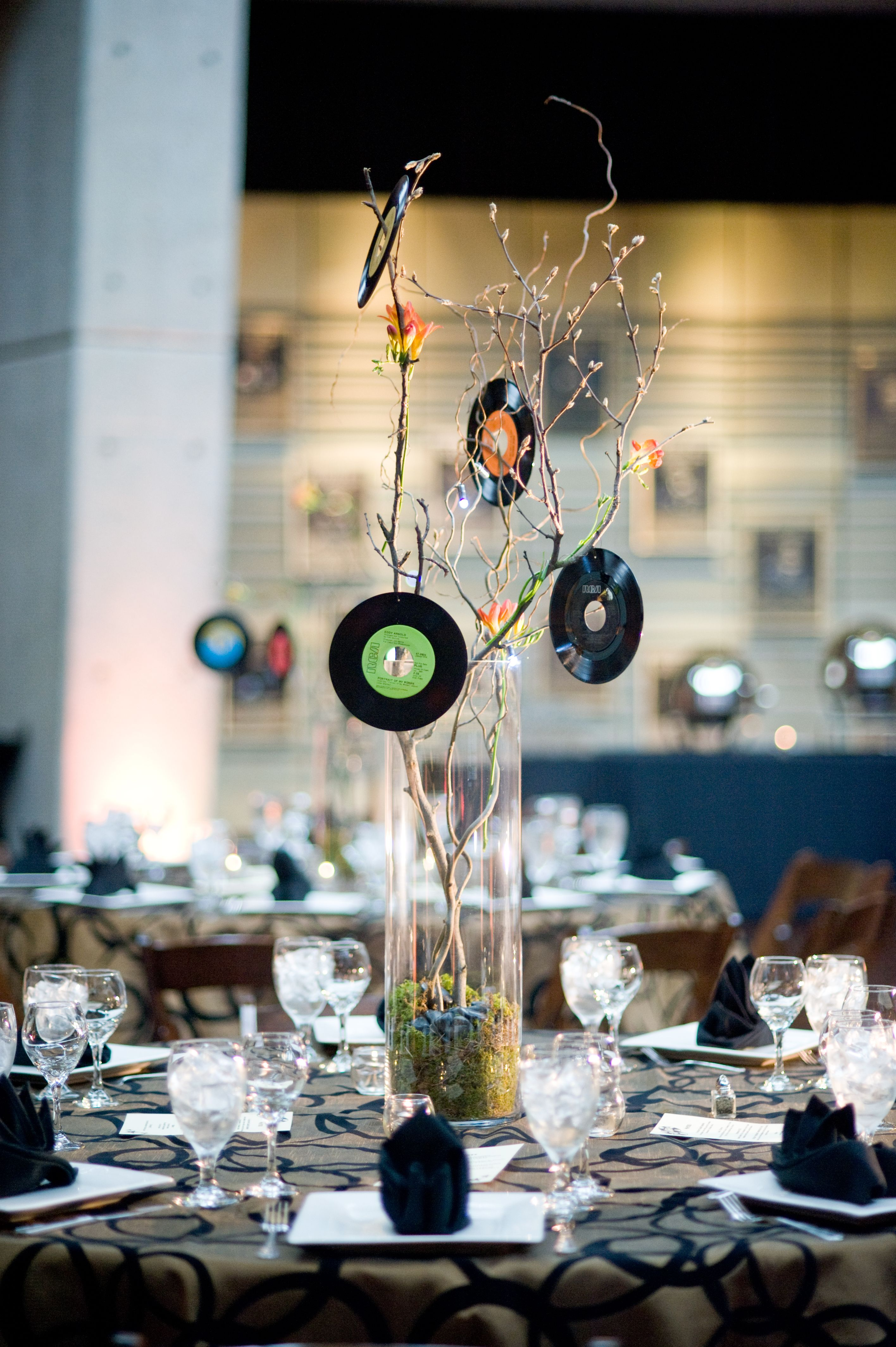 Centerpiece Made With Vinyl Records Party Centerpieces