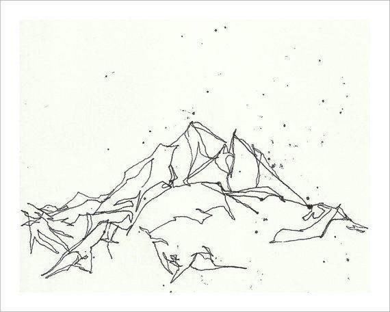 Mountains Drawing Black And White <b>mountain</b> sketch <b>drawing</b> print - <b>black</b> and <b>white</b> 8x10 wall art <b></b>