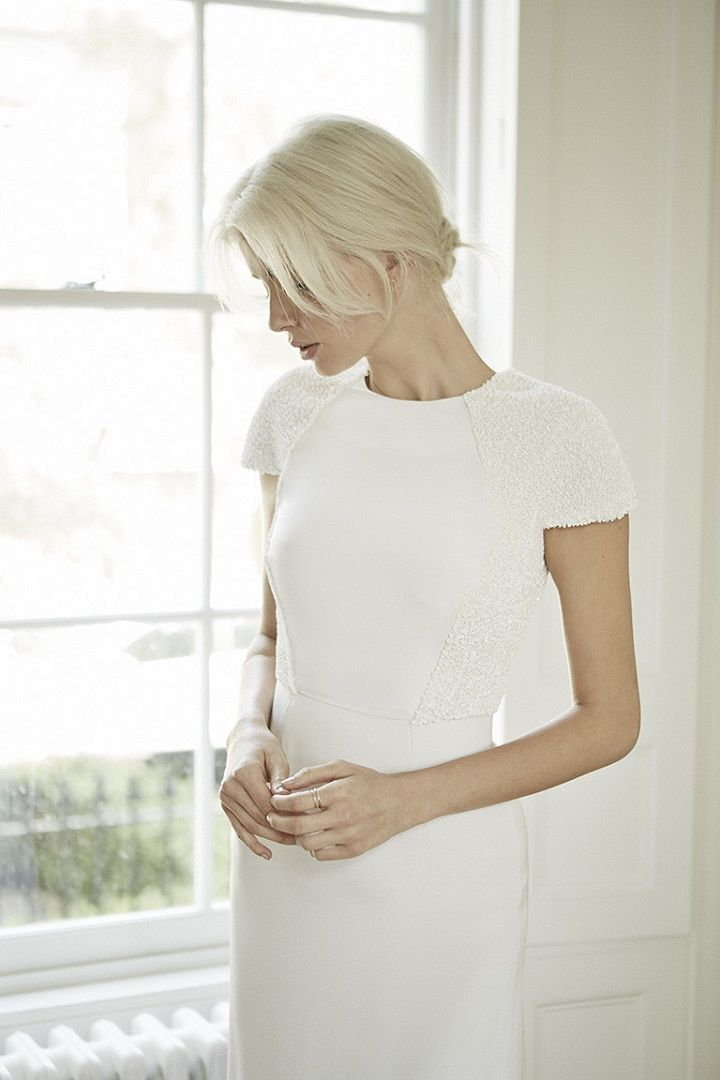 Simple modern wedding dress with hand embroidered short sleeves | fabmood.com #weddingdress #weddinggown #weddingdresses #weddinggowns #bridalgown