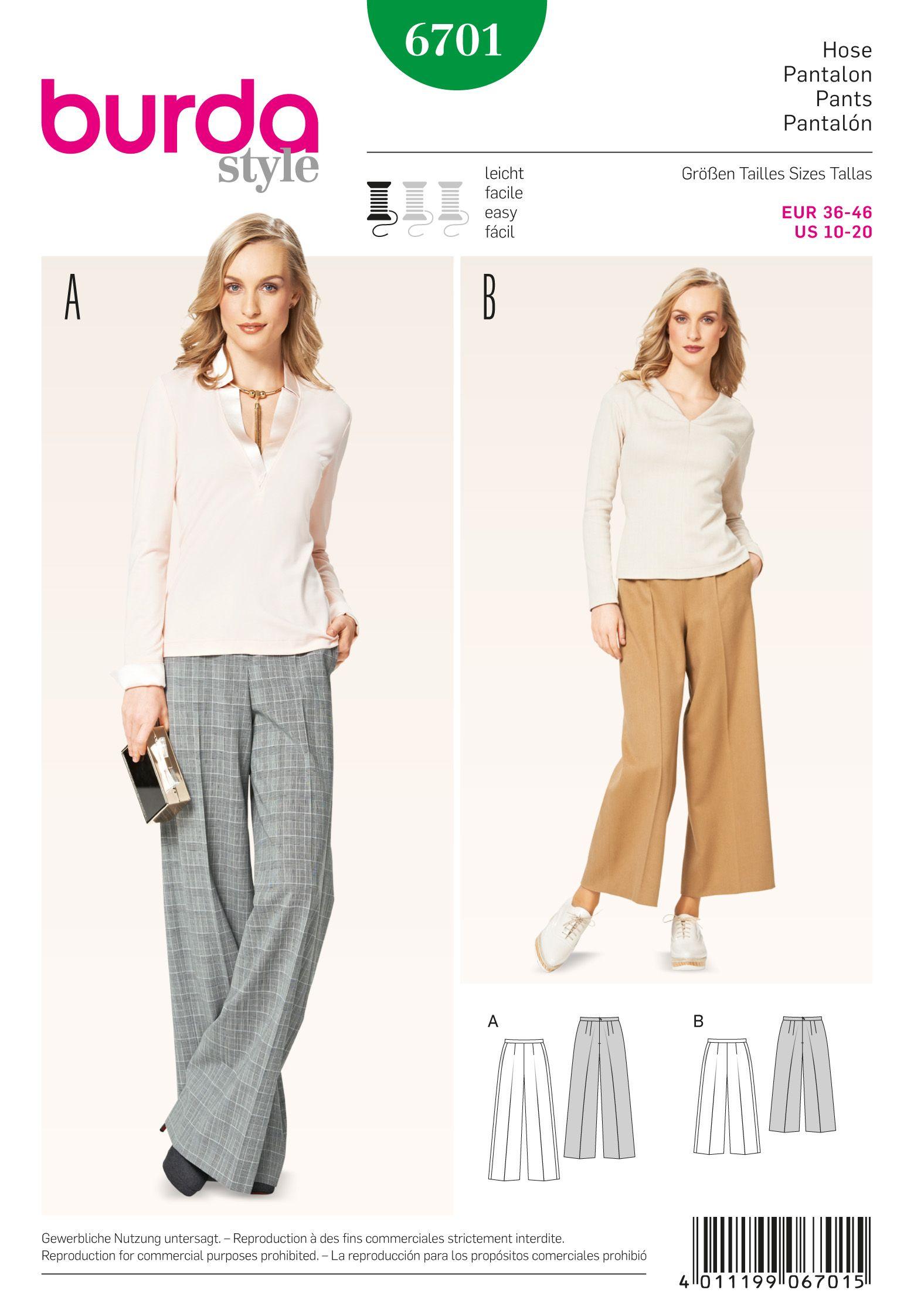 Burda Misses\' Pants 6701 | Pants (My Sewing Pattern Library ...
