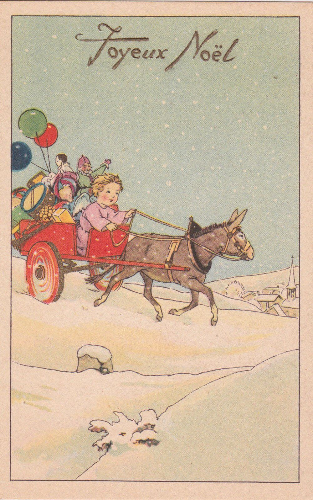 French Art Deco Christmas Card With An Angel Baby Riding In A Cart
