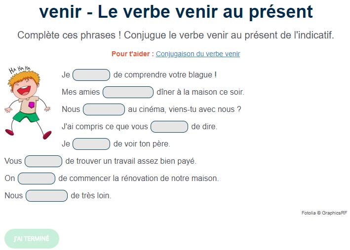 Exercice De Conjugaison Le Verbe Venir Au Present Complete Ces Phrases Conjugue Le Verbe Venir Au Present De Exercice De Francais Cm1 Exercice Verbe Verbe