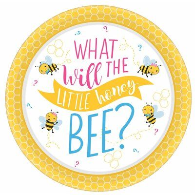 Amscan What Will It Bee Baby Shower Round Paper Disposable Dinner