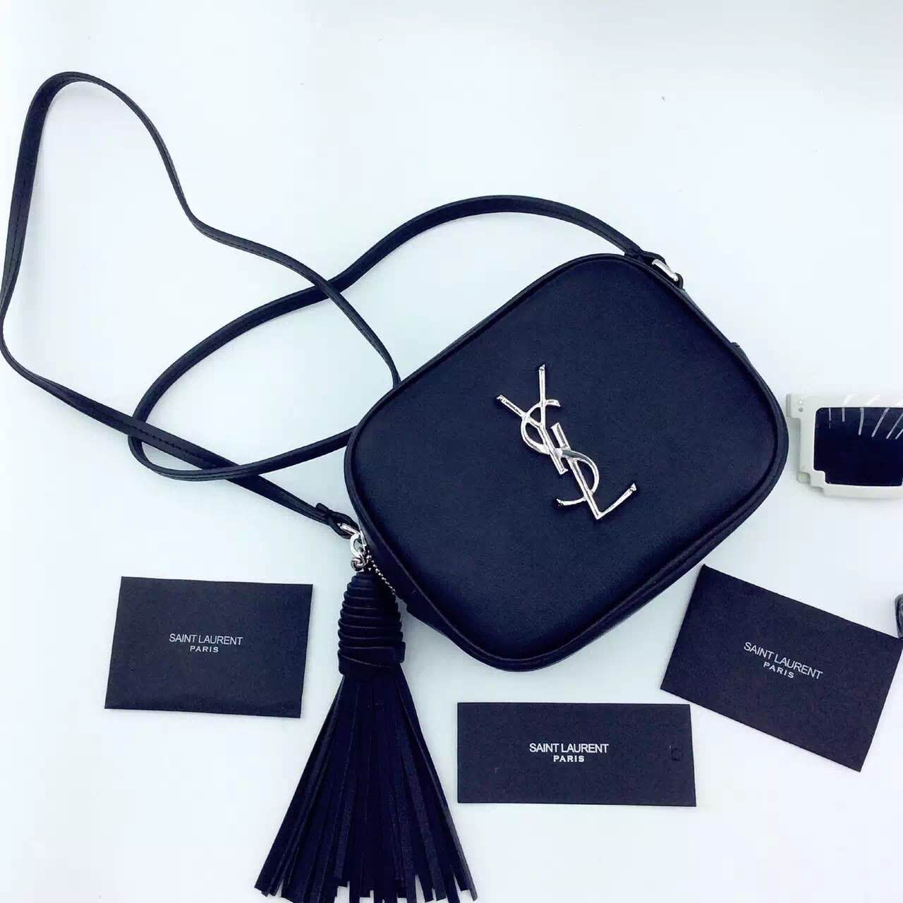 New Arrival!2016 Cheap YSL Out Sale with Free Shipping-Saint Laurent  Monogram Medium Blogger Bag in Black Leather 82c7d4a94593a