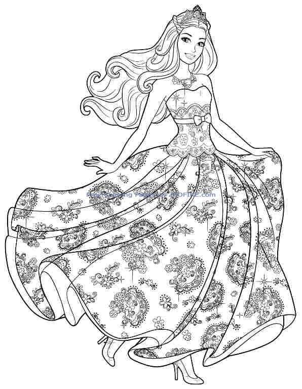 40 barbie coloring pages for kids - Barbie Princess Coloring Pages