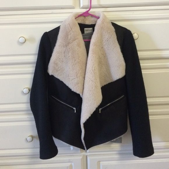 Zara moto fur jacket Bought this past winter and worn for a couple months. Badass Zara moto jacket with a plush faux fur lining and large lapels. Tweed fabric sleeves and suede fabric vest. Matches everything and makes every outfit stand out! Great with jeans and heels. No flaws, like new condition. Zara Jackets & Coats Utility Jackets